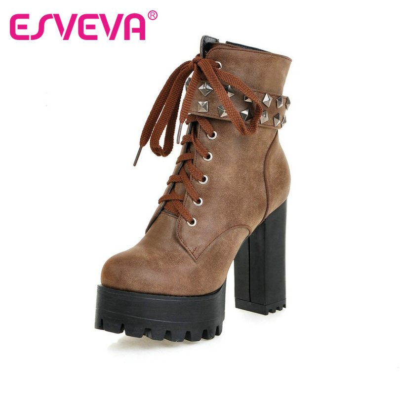 ESVEVA Square High Heel Shoes Women Punk Motorcycle Boots Lace up Rivets Ankle Boots Platform Ladies