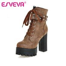 ESVEVA Square High Heel Shoes Women Punk Motorcycle Boots Lace up Rivets Ankle Boots Platform Ladies