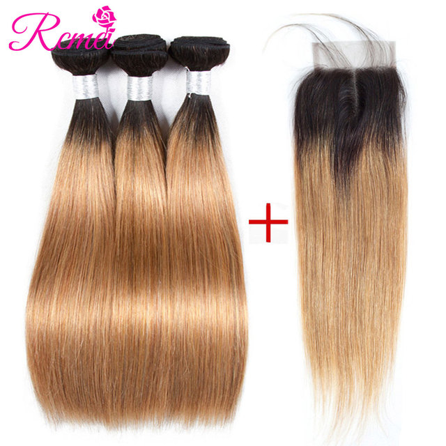 Ombre Bundles With Closure Honey Blonde Brown Bundle With Closure Black Wine Red Brazilian Straight Human Hair Non Remy Rcmei