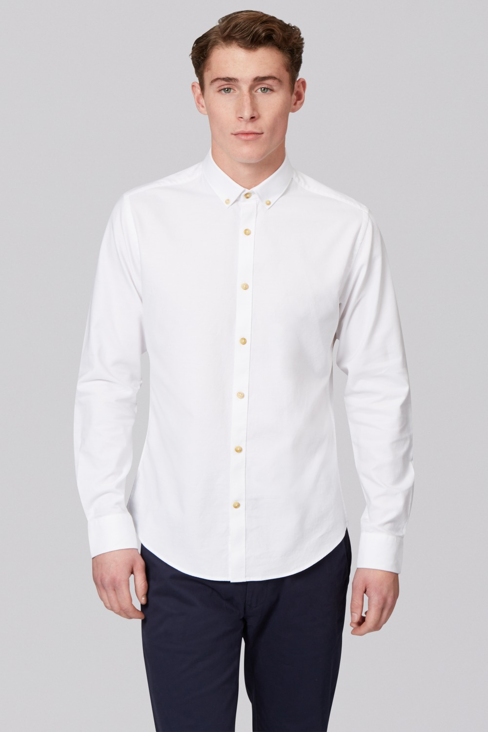 Mens White Oxford Button Down Shirt