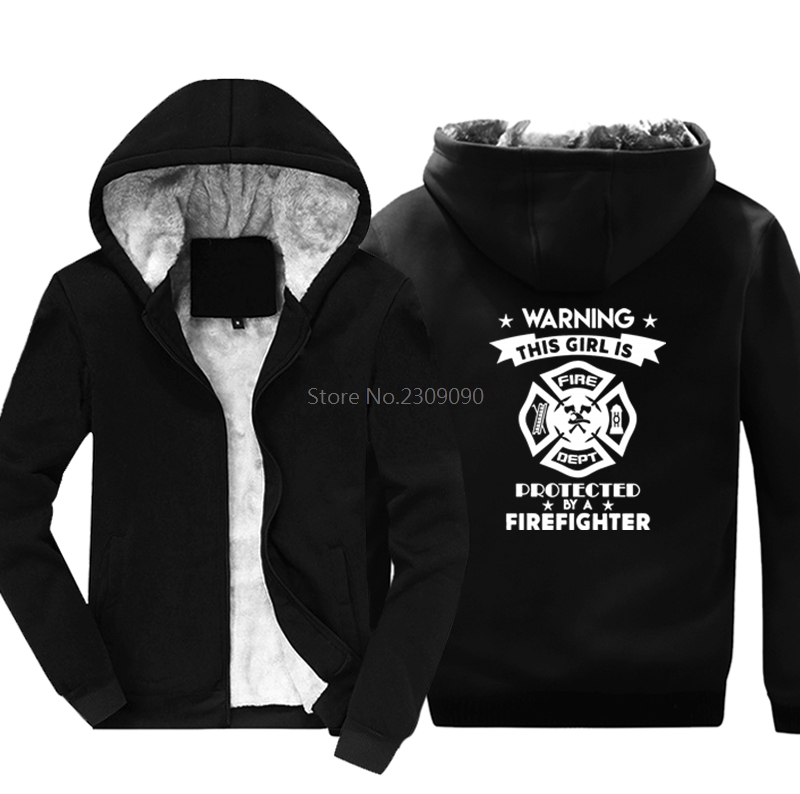 This Girl Firefighter hoodies winter Men Women Cotton thicken Keep Warm Fashion Hip Hop jacket Tops Harajuku Streetwear