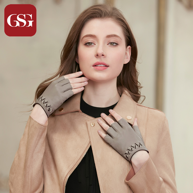 GSG Fingerless Sheep Leather Gloves Women Handmade Woven Fashion Gloves Gray Black Brown Button Ladies Half Finger Driving Glove