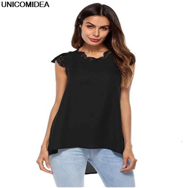 7029c36dc3a67 Blouse Women Chiffon Lace Sleeveless Blouse Shirts O-Neck Solid Women Tops  Casual Office Lady Shirt Female Girls Summer