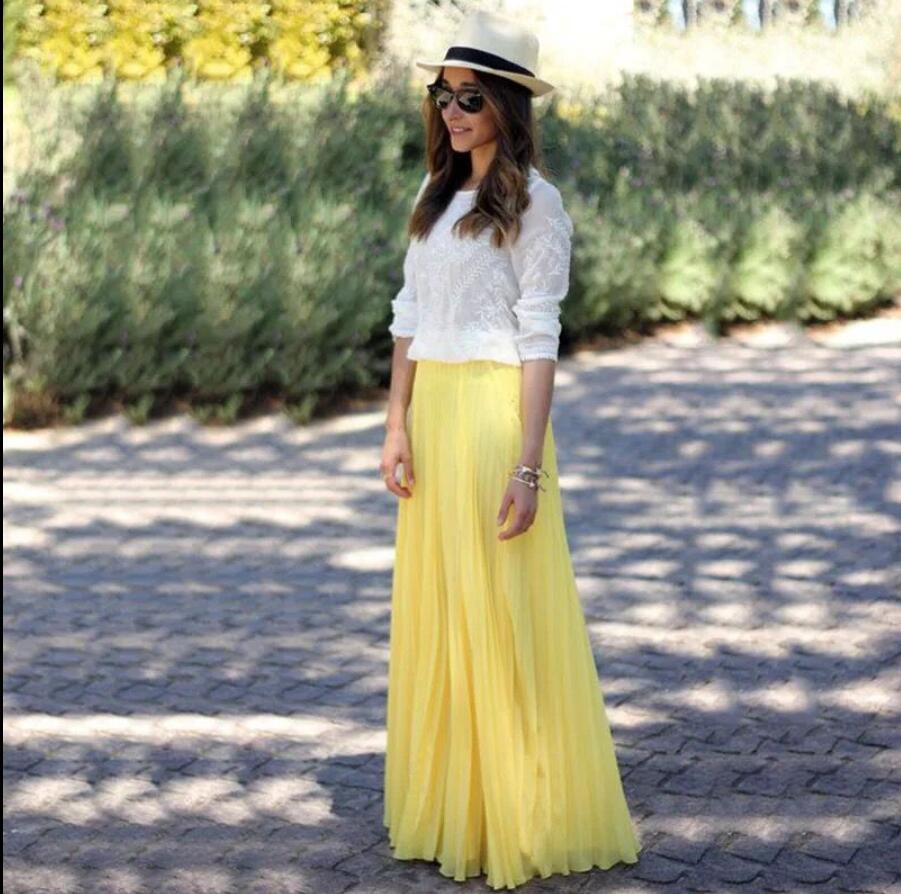Yellow Long Womens Chiffon Skirt Custom Made Floor Length Womens Skirts A Line Long Maxi Skirt