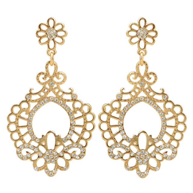 18k Gold Chandelier Earrings Vintage Hollow Out Austria Crystal Flower Dangle Costume Jewelry For Women