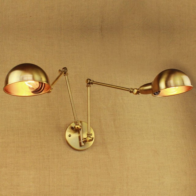 Design Luxury Vintage Br Gold Double Head Swing Arm Edison Wall Lamp E27 Led Adjule Metal Light Fixtures For Bedroom