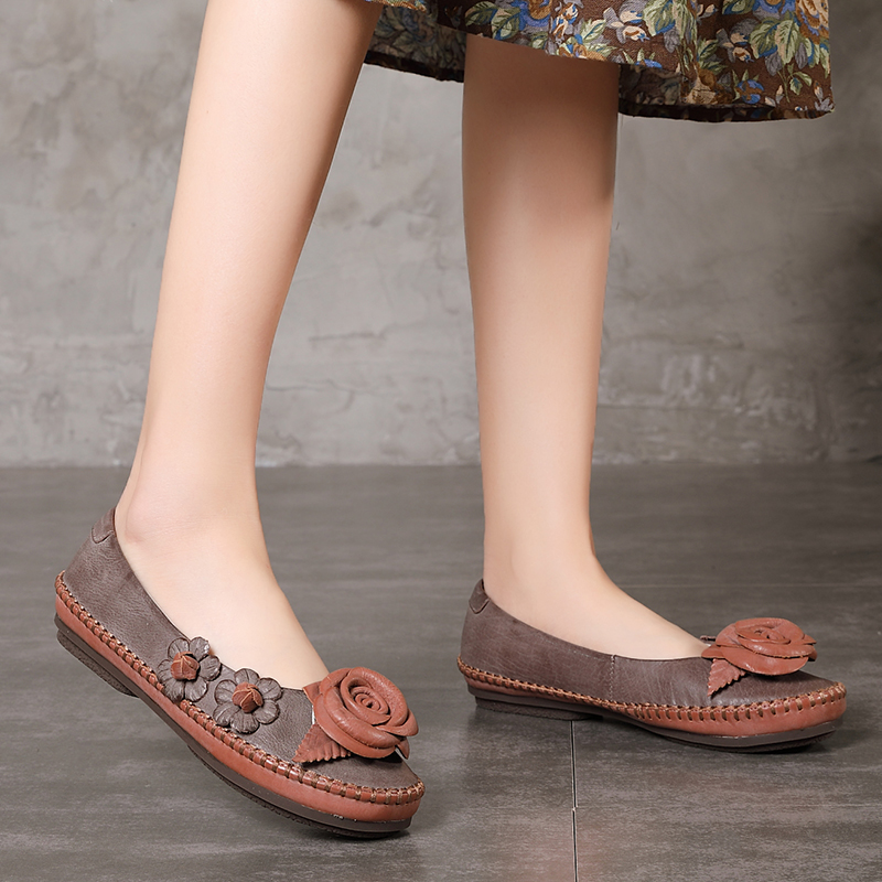 Floral Shoes Female 2018 Genuine Leather Women' s Flat Shoes Handmade Slip On Stitches Flats Round Toe Comfort Shoes For Women