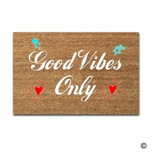 Rubber Doormat For Entrance Door Floor Mat Good Vibes Only Non-slip 23.6 by 15.7 Inch Machine Washable Non-woven Fabric