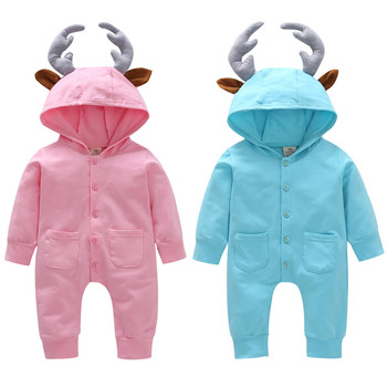 MUQGEW  Baby Girls Boys clothes newborn romper 3D Cartoon Deer Hooded Romper Jumpsuit kombinezon niemowlak Winter clothes Baby Rompers