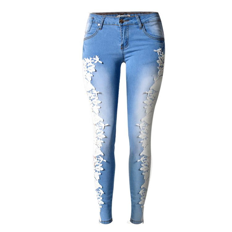 ФОТО 2016 New Jeans Femme Hollow Out Lace Skinny Pencil Long Pants Women's Clothing European And American Style Women's Jeans Summer