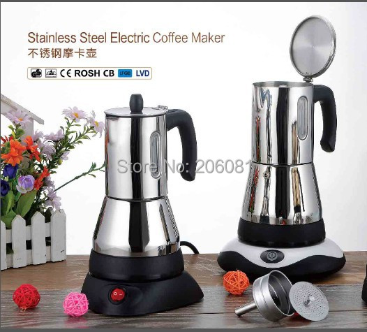 V Cups Electric Stainless Steel Moka Coffee Potespresso Maker With Vision Window Elegant Direct Parts From Home