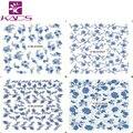 Sistema de desarrollo de CONOCIMIENTOS M25-28 Calcomanías de Transferencia de Agua Nails Pegatinas Decoraciones Elegantes Flores de Color Azul Puro y Fresco Diseño De Uñas de Arte Etiqueta