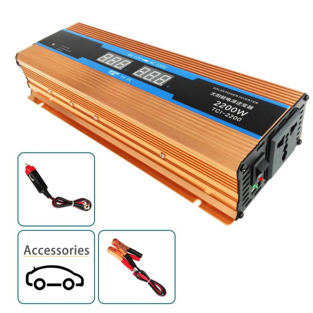 New 2000W  3000w Professional Car Power Inverter DC12V To AC110V Aluminum Alloy Dual USB Converter High Conversion Converter hot vm06 0040 n4 dual inverter new