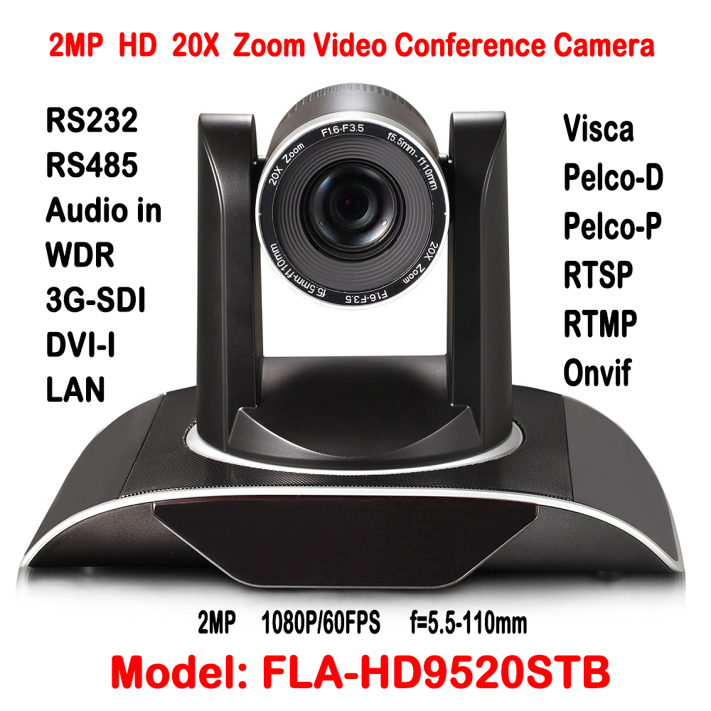 2MP Full HD 20X zoom Video Conference Camera HDSDI DVI IP Onvif 1/3 Inch CMOS Sensor H.265 Pan 340 degree Rotation 255 Presets