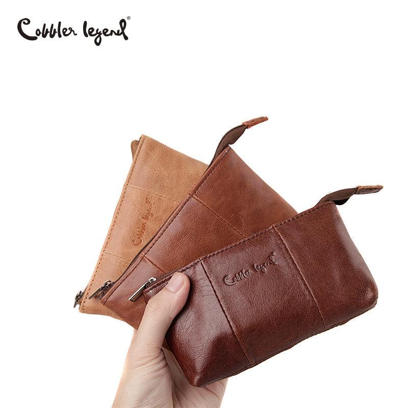 цена на Cobbler Legend Genuine Leather Men Women Card Coin Key Holder Zip Pouch Bag Purse Mini Pouch Zipper Popular Small Money Wallet