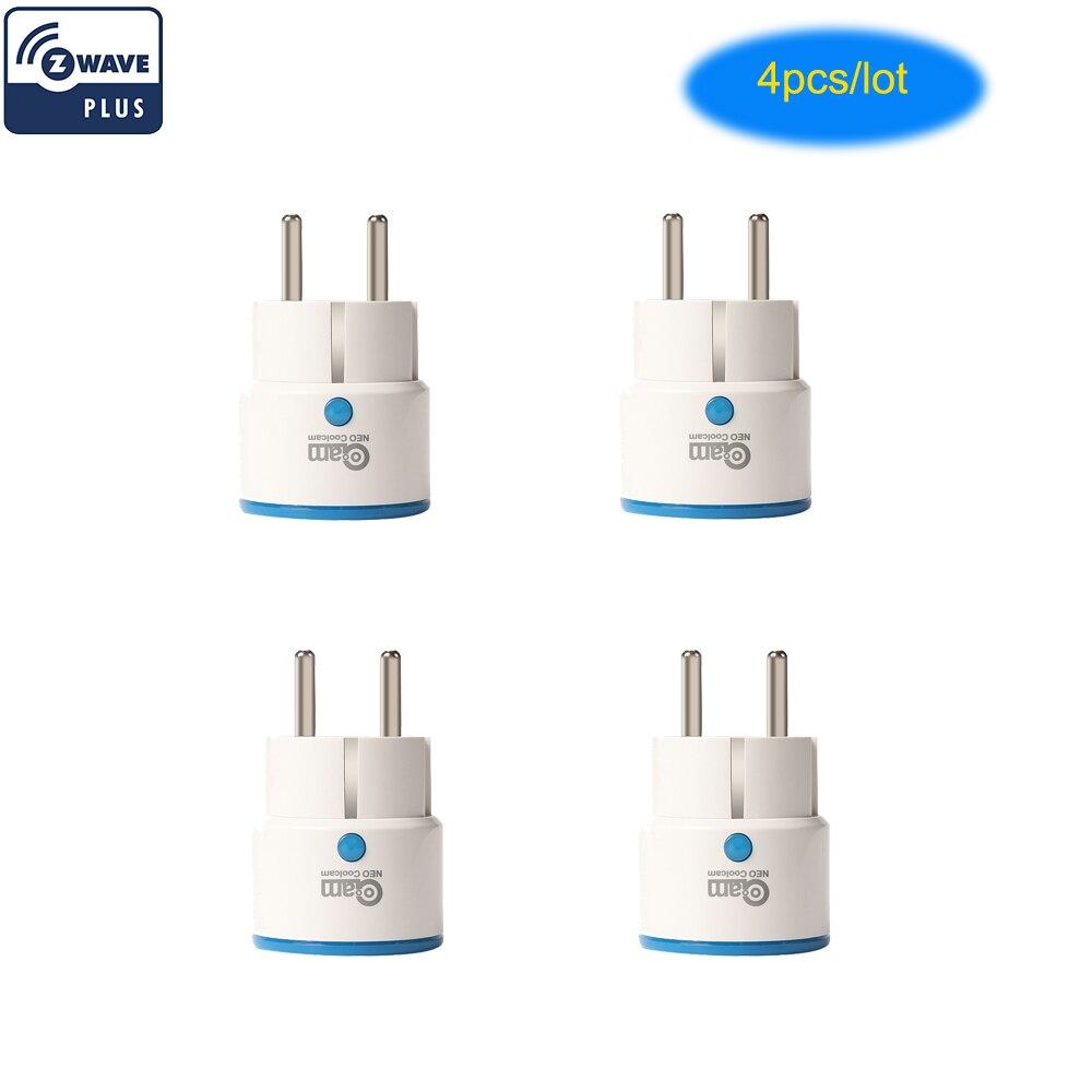 Neo coolcam 4 pçs/lote z-wave tomada inteligente zwave plug automação residencial mini z onda tomada de controle sem fio por smartphone