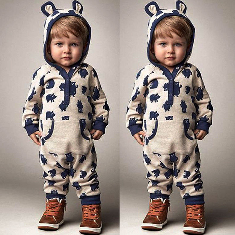Kids Baby Boys Girls Warm Infant Romper Jumpsuit Cute Bear Gray Hooded Cotton Clothes Outfits Autumn 6m 3years baby winter overall toddler warm velvet bear hooded rompers infant long pants kids girls boys jumpsuit pink blue