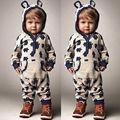 Los niños Infantiles Del Mameluco Del Mono Del Bebé Muchachas de Los Muchachos Caliente Lindo Oso Gris Con Capucha Ropa de Algodón Trajes de Otoño