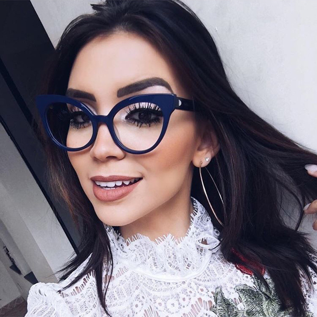 8d8d4007b ANEDF 2018 جديد خمر المرأة القط العين النظارات الأزياء السيدات واضح عدسة  النظارات الإطار الأزرق الأشعة