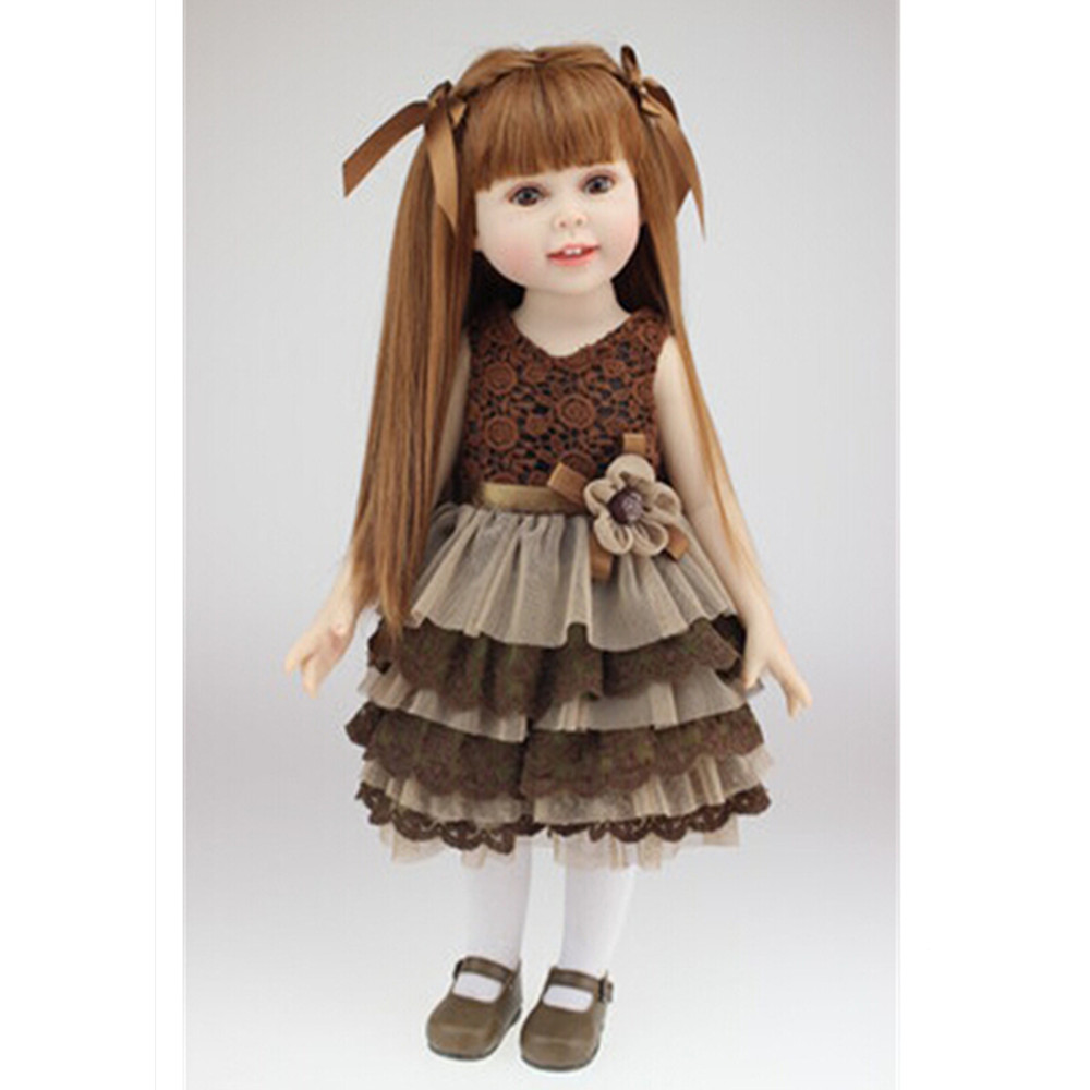 18 /45 cm Girl Doll Vivid Baby Toys for Children Birthday Gift, Adorable American Girl Doll with Brown Dress Free Shipping novelty 18 inch 45 cm soft american girl dolls princess doll with dress cute lifelike baby toys for children gift free shipping