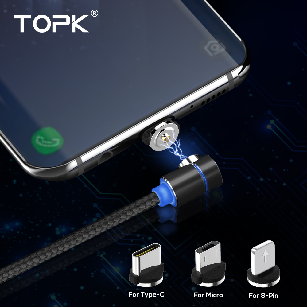 TOPK L-Line 1m 2m 90 Degree L Type Magnetic Cable Micro USB Cable & USB Type C Cable LED Magnet Charger Cable For iPhone X 8 7 6