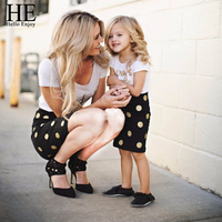 Mother And Daughter Clothes 2017 Summer Mom And Kids Clothing Set Fashion Letter Print T Shirt