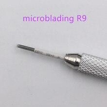 50pcs 영구 메이크업 3D 안개 눈썹 문신 Microblading 바늘 R9 수동 Tebori 자 수 펜에 대 한 베벨 라운드 바늘