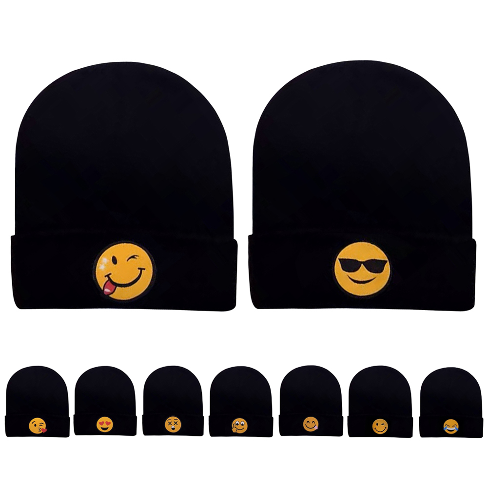 2017 Unisex Funny Emoji Knit Beanie Cap Adult Child Mens Winter Warm Hat Black color Hip Hop Adjustable Hats funny fishing game family child interactive fun desktop toy
