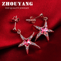 ZHOUYANG Top Quality ZYE428 Elegant Starfish Crystal Rose Gold Color Earring  Austrian Crystal Wholesale