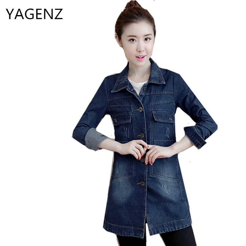 YAGENZ Denim   Jacket   Women 2018 Spring Autumn Single-breasted Casual Denim Blouse Plus size 3XL Vintage Jeans Female   Basic   Coat