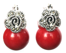 Ldy's 12mm Red Corl Bed Flower Mrcsite & 925 Silver Errings