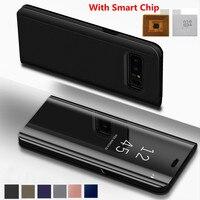 Toque Virar Stand Case para Samsung Galaxy S6 S7 S8 Plus Borda S6Edge Note5 Note8 Nota 5 8 Caso de Telefone Inteligente Chip de Visão Clara cobrir