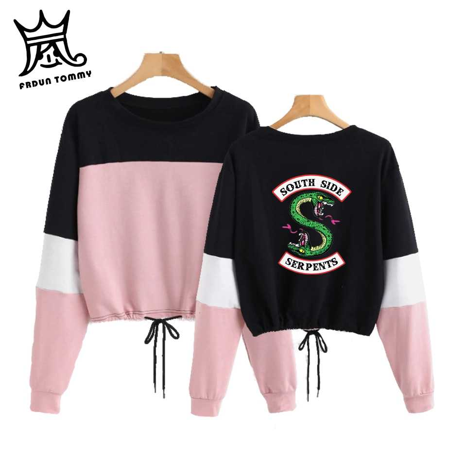 FRDUN TOMMY 2019 Fshion NEW RIVERDALE Color matching wild bow long sleeve round neck Sweatshirt women's clothing HIP HOP STYLE