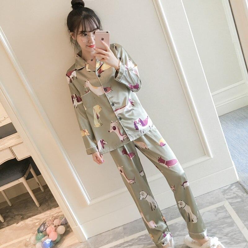 Mujeres dormir desgaste primavera y otoño Sexy pijama establece imitación de seda hogar señora del alto grado resbaladiza seda ropa