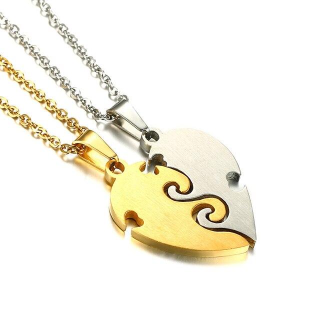 """Vnox Engraved """"Best Friend Forever"""" Friendship Pendant for Women Necklace Stainless Steel Broken Heart Feme Bijoux Gift"""