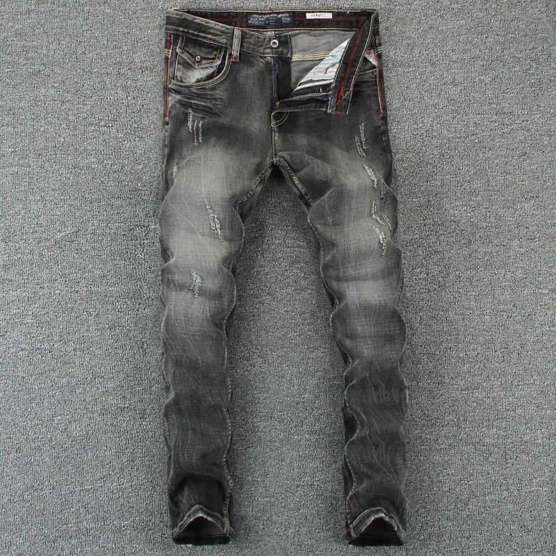 c7f4e156 Black Gray Color Denim Mens Jeans Slim Fit Classic Ripped Jeans For Men  Brand Clothing Italian