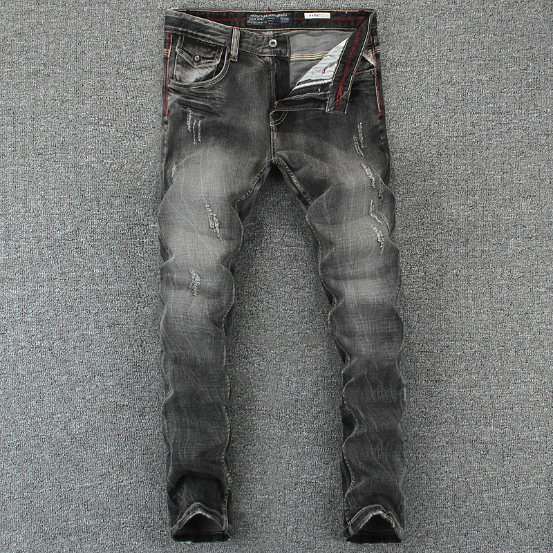 Black Gray Color Denim Mens Jeans Slim Fit Classic Ripped Jeans For Men Brand Clothing Italian Style High Quality Stripe Jeans classic mid stripe men s buttons jeans ripped slim fit denim pants male high quality vintage brand clothing moto jeans men rl617