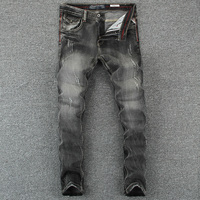 Black Gray Color Denim Mens Jeans Slim Fit Classic Ripped Jeans For Men Brand Clothing Italian Style High Quality Stripe Jeans