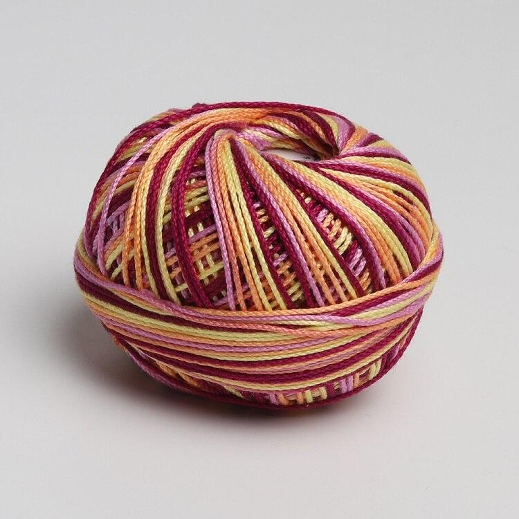 Размер 3 хлопок жемчуг пестрый 50 грамм мяч египетская длинноштапельная хлопковая пряжа газированная двойная мерсеризованная 6 нитей плетение - Цвет: 108