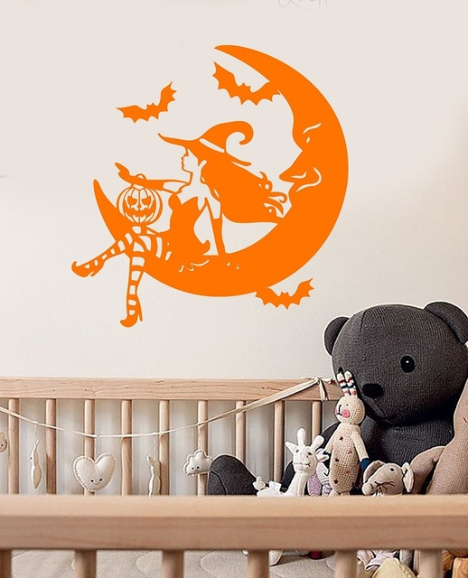 Fairy tale Halloween witch crescent vinyl wall decals childrens party nursery  window holiday art decoration mural  WSJ10