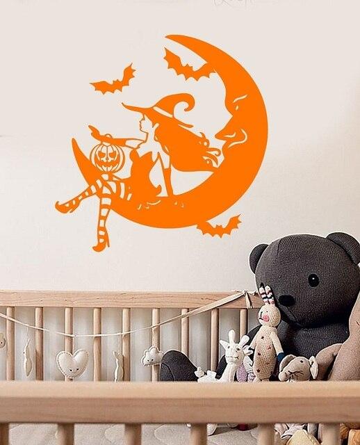 Fiaba strega di Halloween mezzaluna della parete del vinile decalcomanie per bambini festa nursery finestra di festa della decorazione di arte murale WSJ10