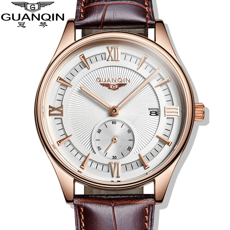 Fashion Men Quartz Watch GUANQIN male Casual Watches Top Brand Luxury Leather Sports Wristwatches Men's business clock hours