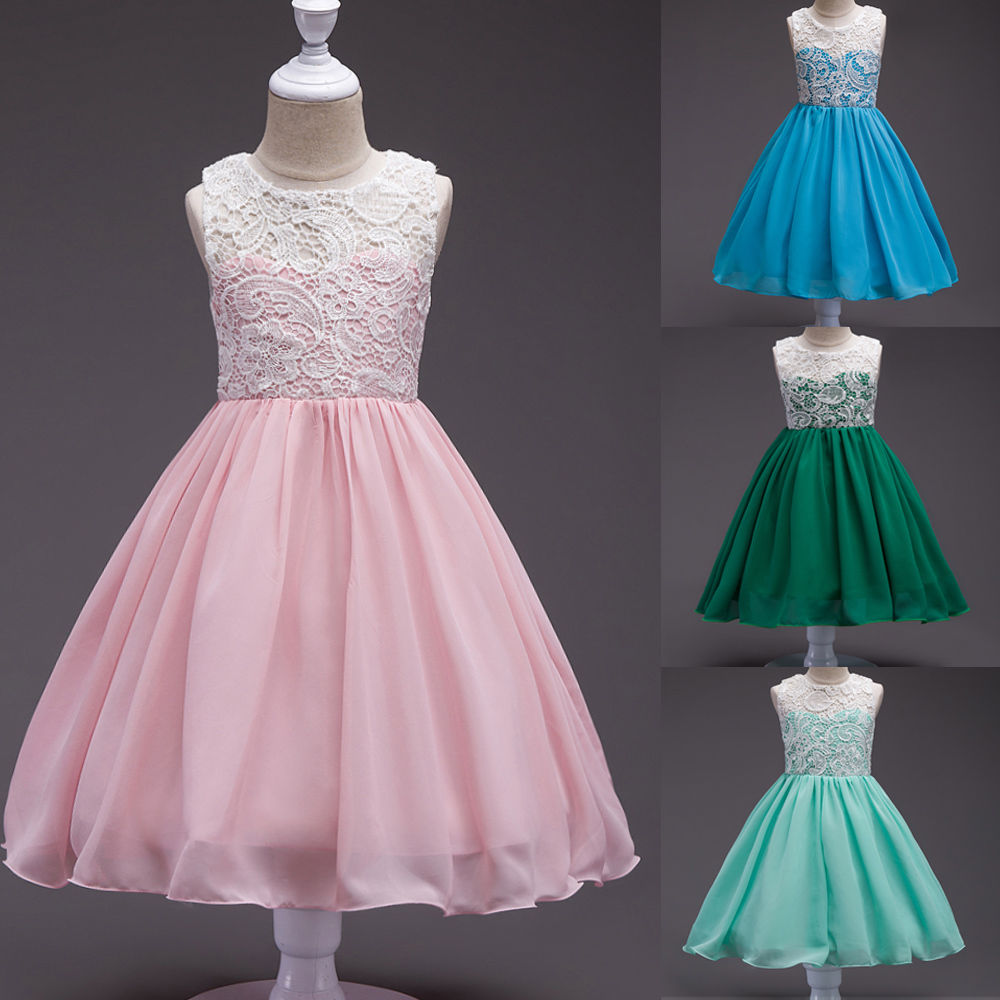 Summer Kids Girls Lace Chiffon Wedding Princess Dress Pink Green Blue Sleeveless Pageant Party Ball Gown Dresses Girls Clothes childrens wedding gown blue purple hot pink red summer toddler party wedding birthday princess dress girl kids dresses