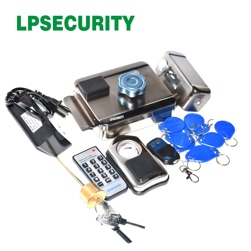 Battery power 12VDC power Wireless Remote control Electronic Rim Lock with Key Electronic lock with 2 remote controls panlongic 16mm 735 s1601 type 250v 1a electronic lock key switch phone lock double pull power supply lock power lock