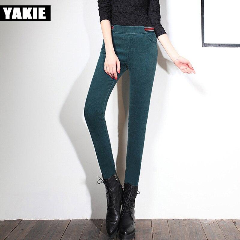a5ffeefa34a46 Pantalon en velours côtelé femmes hiver chaud 2017 printemps haute elasitc  taille maigre polaire patchwork causal crayon pantalon femelle pantalon 4XL  dans ...