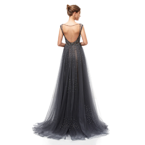 Image 2 - New Elegant Evening Dresses Long A Line Backless Tulle Floor Length Dubai Formal Party Gown Lace Applique Robe De Soiree WT5406