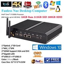 Fanless Slim PC Computador Intel Core i7 5500U i5 5250U Iris6100 Mini PC Windows 16GB RAM 512GB SSD 500GB HDD 4K Mini-ITX HTPC