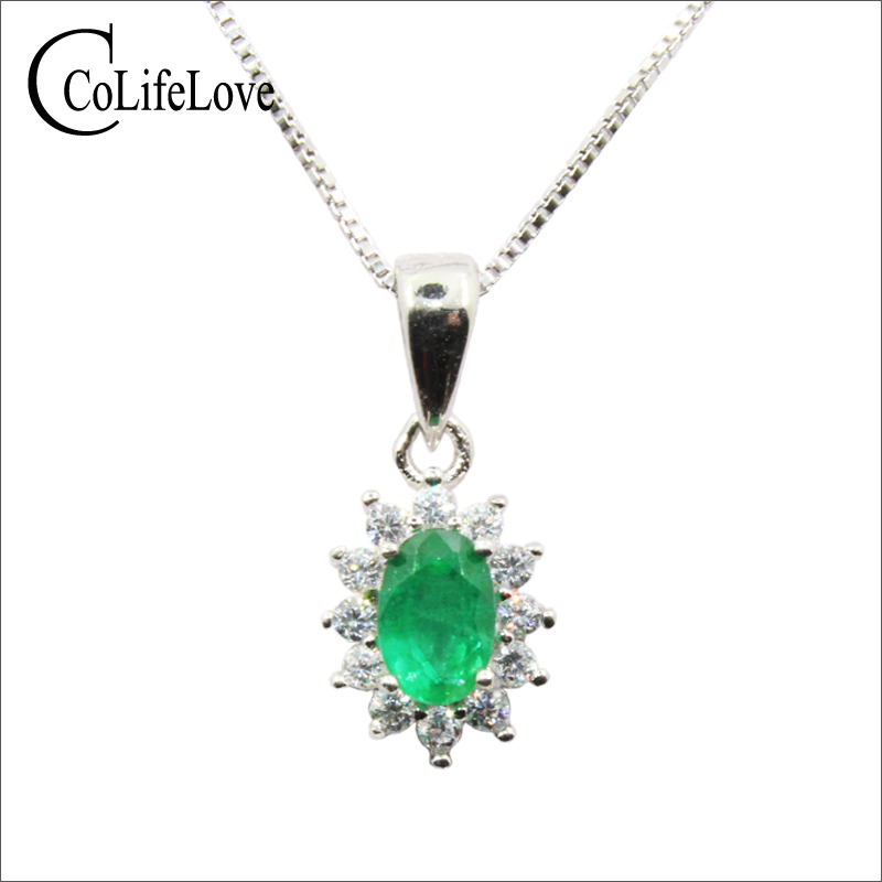 Classic emerald necklace pendant for wedding 4 mm 6 mm natural Zambia emerald silver pendant solid