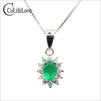 Classic emerald necklace pendant for wedding 4 mm * 6 mm natural Zambia emerald silver pendant solid 925 silver emerald pendant - DISCOUNT ITEM  20% OFF All Category