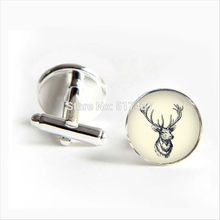 2017 wholesale Deer Head Cufflinks Vintage Deer Cuff links Elk Cufflink Silver Shirt Cufflinks For Mens
